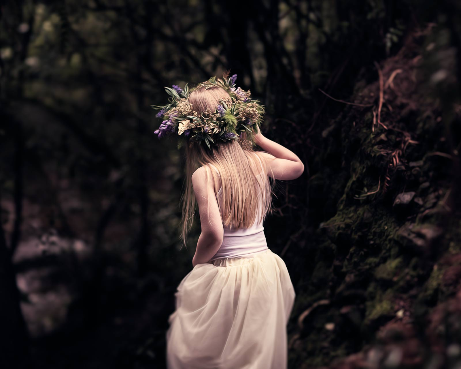 blond girl, white dress, flower crown, in a forrest, digital oil painting